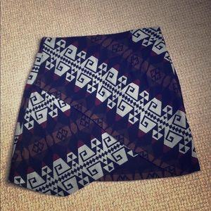 Zara asymmetrical patterned mini skirt size xs